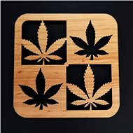 AMADEA Dřevěný podtácek hranatý se 4 listy, masivní dřevo, 10x10 cm - Podtácek