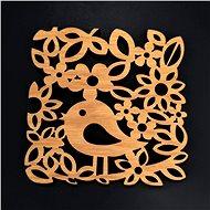AMADEA Dřevěný podtácek hranatý s ptáčkem, masivní dřevo, 9x9 cm - Podtácek