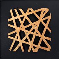 AMADEA Dřevěný podtácek hranatý ve tvaru sítě, masivní dřevo, 9x9 cm - Podtácek