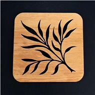 AMADEA Wooden square Coaster with Twig Motif, Solid Wood, 9cm - Pad