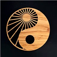 AMADEA Wooden Coaster Round Yin-yang, Solid Wood, Diameter of 10cm - Pad