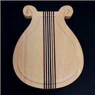 AMADEA Dřevěné prkénko s drážkou ve tvaru lyry, masivní dřevo, 20x18x2 cm - Prkénko