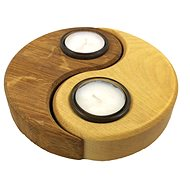 AMADEA Wooden Candlestick Yin - Yang, Solid Wood, 15x11,5x3cm - Candlestick