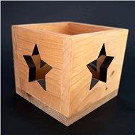 AMADEA Dřevěný svícen ve tvaru krychle s hvězdou, masivní dřevo, 10x10x10 cm - Svícen