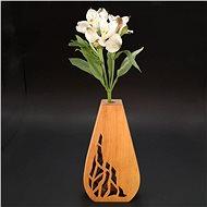 AMADEA Dřevěná váza ve tvaru oblého trojúhelníku s prořezaným motivem, masivní dřevo, výška 23 cm - Váza