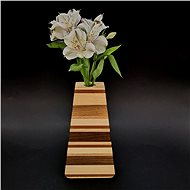AMADEA Dřevěná váza trojúhelníková s vodorovnými pruhy, masivní dřevo čtyř druhů dřevin, výška 23 cm - Váza