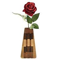 AMADEA Dřevěná váza trojúhelníková, masivní dřevo čtyř druhů dřevin, výška 23 cm - Váza