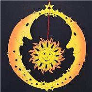 AMADEA Dřevěná ozdoba dva měsíce se sluncem, barevná, k zavěšení, výška 20 cm - Vánoční ozdoby