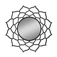 AMADEA Dřevěné zrcadlo ve tvaru mandaly, černá barva, průměr 41 cm - Zrcátko