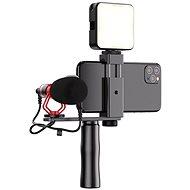 Apexel video rig s mikrofonem a led světlem - Držák na mobilní telefon