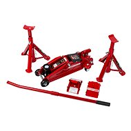 AHProfi Set of Mobile Hoist, Adjustable Supports (Pair) and Safety Wedges in Case - Jack