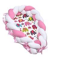 T-tomi Pletené Hnízdečko 2v1 Pink elephant - Hnízdo pro miminko