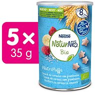 NATURNES BIO NutriPuffs Malina 5× 35 g - Křupky pro děti