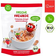 Freche Freunde Organic Cereals - Crispy Rings - Apple and Strawberry 3× 125g - Cookies for Kids