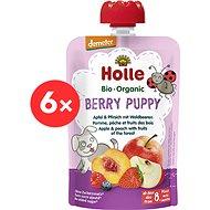 HOLLE Berry Puppy  BIO jablko broskev a lesní plody 6× 100 g - Příkrm