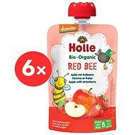 HOLLE Red Bee  BIO jablko jahody 6× 100 g - Příkrm