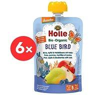 HOLLE Blue Bird  BIO hruška jablko borůvky a vločky 6× 100 g - Příkrm