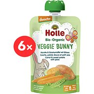 HOLLE Veggie Bunny  BIO pyré mrkev  batáty a hrášek 6× 100 g - Příkrm