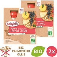 BABYBIO Jablko, borůvky a jahody 2× (4× 90 g) - Příkrm