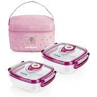 MINILAND Termoizolační pouzdro + 2 hermetické misky na jídlo Pink - Sada dóz