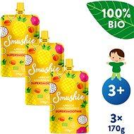 SALVEST Smushie BIO Ovocné smoothie s meruňkou, ananasem a lněnými semínky 3× 170 g