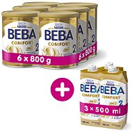 BEBA COMFORT 2 HM-O (6× 800 g) + 3× BEBA COMFORT Liquid 2 HM-O (500 ml)