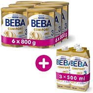 BEBA COMFORT 3 HM-O (6 × 800g) + 3 × BEBA COMFORT Liquid 3 HM-O (500ml) - Baby Formula