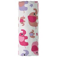 T-tomi BIO Bambusová osuška pink elephants - Dětská osuška