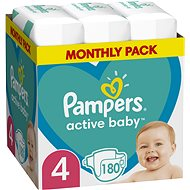 PAMPERS Active Baby vel. 4, Monthly Pack 180 ks