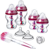 Tommee Tippee Sada kojeneckých lahviček C2N ANTI-COLIC s kartáčem Pink - Kojenecká láhev
