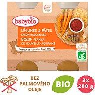 BABYBIO Zelenina stěstovinami na boloňský způsob sfarmářským hovězím masem 2× 200 g - Příkrm