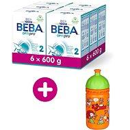 BEBA OPTIPRO 2, 6× 600 g + zdravá láhev Rebelka - Kojenecké mléko