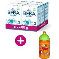 BEBA OPTIPRO 3, 6× 600 g + zdravá láhev Rebelka