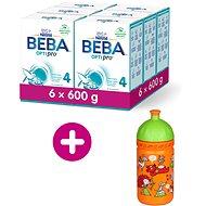 BEBA OPTIPRO 4, 6× 600 g + zdravá láhev Rebelka