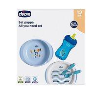 Chicco jídelní set, talíře, příbory, sklenka, 12 m+, modrý - Dětská jídelní sada