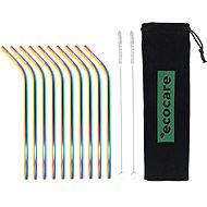 ECOCARE Kovová Brčka Set Rainbow Bent 10 ks - Brčko