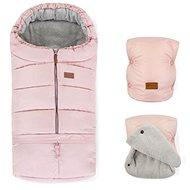 Petite&Mars zimní set fusak Jibot 3v1 a rukavice na kočárek Jasie Flamingo Pink - Fusak do kočárku