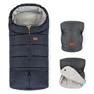 Petite&Mars zimní set fusak Jibot 3v1 a rukavice na kočárek Jasie Charcoal Grey - Fusak do kočárku