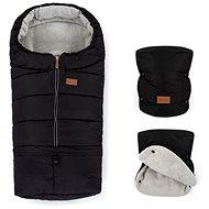 Petite&Mars zimní set fusak Jibot 3v1 a rukavice na kočárek Jasie Ink Black - Fusak do kočárku