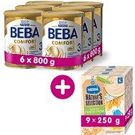 BEBA COMFORT 3 HM-O (6× 800 g) + NESTLÉ Mléčná kaše Pšenično Ovesná 9× 250 g