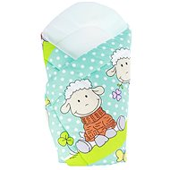 New Baby turquoise swaddle blanket with sheep - Swaddle blanket