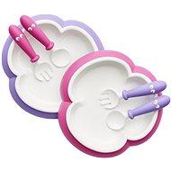 Babybjörn Talířek s příborem 2 ks růžová/fialová - Dětská jídelní sada