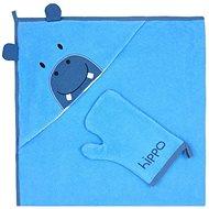 Koala Dětská osuška s žínkou - modrá - Dětská osuška