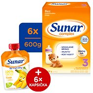 Sunar Complex 3 - 6x 600 g + Vlhčené ubrousky Linteo Baby - Kojenecké mléko