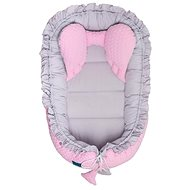 Belisima Luxusní hnízdečko pro miminko Králíček šedo-růžové - Hnízdo pro miminko