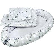 New Baby Luxusní hnízdečko s peřinkou a polštářkem hvězdičky - bílo-šedé - Hnízdo pro miminko