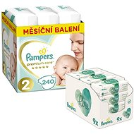 PAMPERS Premium Care vel. 2 Mini (240 ks) + PAMPERS Aqua Pure vlhčené ubrousky 9× 48 ks