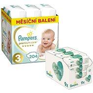 PAMPERS Premium Care vel. 3 Midi (204 ks) + PAMPERS Aqua Pure vlhčené ubrousky 9× 48 ks