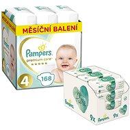 PAMPERS Premium Care vel. 4 Maxi (168 ks) + PAMPERS Aqua Pure vlhčené ubrousky 9× 48 ks