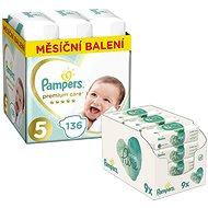 PAMPERS Premium Care vel. 5 Junior (136 ks) + PAMPERS Aqua Pure vlhčené ubrousky 9× 48 ks